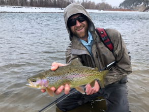 Three Rivers Ranch Guide, Pickens Parks with a South Fork of the Snake winter time Rainbow Trout